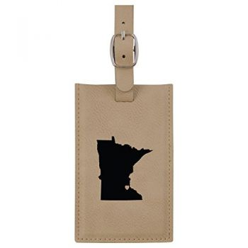 Minnesota-State Outline-Heart-Leatherette Luggage Tag -Tan