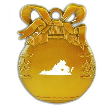 Virginia-State Outline-Heart-Christmas Tree Ornament-Gold