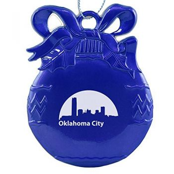 Pewter Christmas Bulb Ornament - Oklahoma City Skyline