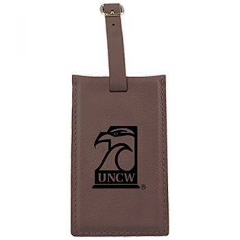 University of North Carolina Wilmington -Leatherette Luggage Tag-Brown