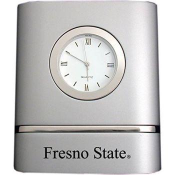 California State University, Fresno- Two-Toned Desk Clock -Silver