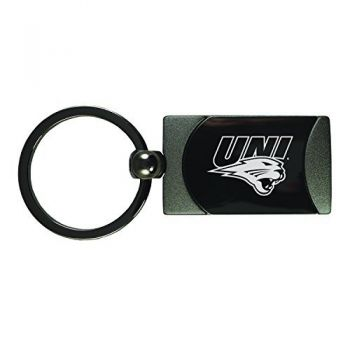 University of Northern Iowa-Two-Toned gunmetal Key Tag-Gunmetal
