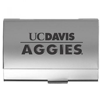 University of California, Davis - Two-Tone Business Card Holder - Silver