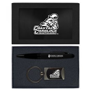 Coastal Carolina University -Executive Twist Action Ballpoint Pen Stylus and Gunmetal Key Tag Gift Set-Black