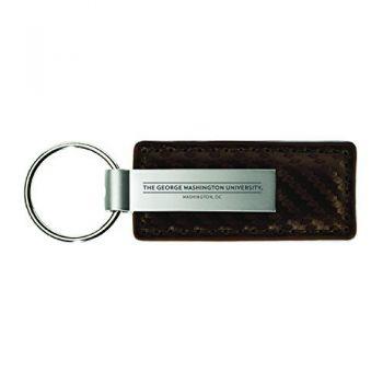 George Washington University-Carbon Fiber Leather and Metal Key Tag-Taupe