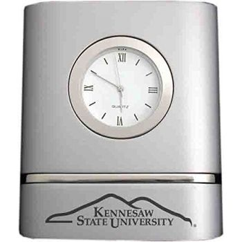 Kennesaw State University- Two-Toned Desk Clock -Silver