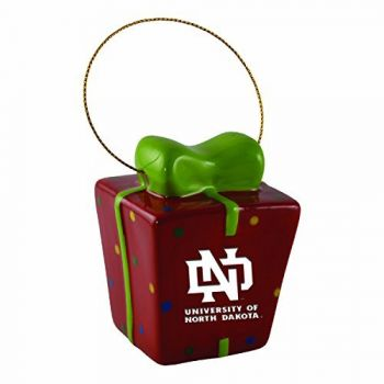 University of North Dakota-3D Ceramic Gift Box Ornament
