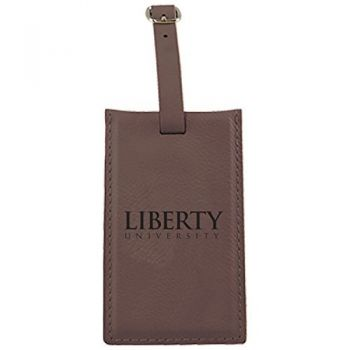 Liberty University-Leatherette Luggage Tag-Brown