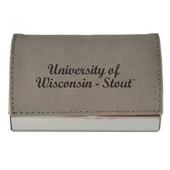Velour Business Cardholder-University of Wisconsin-Stout-Grey
