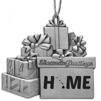 Hawaii-State Outline-Home-Pewter Gift Package Ornament-Silver