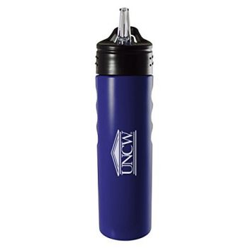 University of North Carolina Wilmington-24oz. Stainless Steel Grip Water Bottle with Straw-Blue