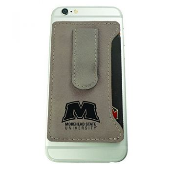 Morehead State University -Leatherette Cell Phone Card Holder-Tan