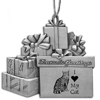 Pewter Gift Display Christmas Tree Ornament  - I Love My Cat