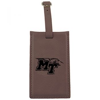 Middle Tennessee State University -Leatherette Luggage Tag-Brown