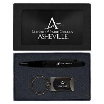 University of North Carolina at Asheville-Executive Twist Action Ballpoint Pen Stylus and Gunmetal Key Tag Gift Set-Black