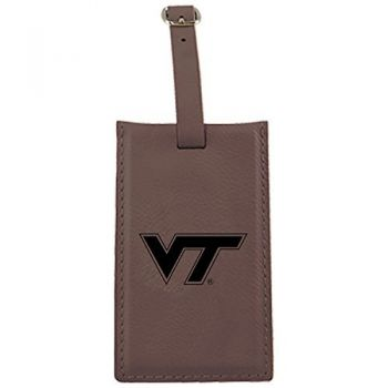 Virginia Tech -Leatherette Luggage Tag-Brown