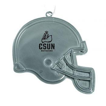 California State University, Northridge - Christmas Holiday Football Helmet Ornament - Silver