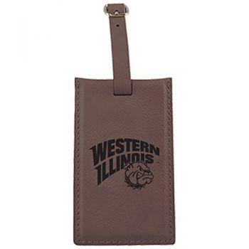 Western Illinois University -Leatherette Luggage Tag-Brown