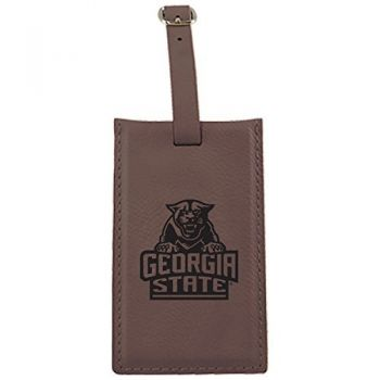 Georgia State University -Leatherette Luggage Tag-Brown