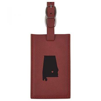 Alabama-State Outline-Heart-Leatherette Luggage Tag -Burgundy