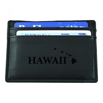 Hawaii-State Outline-European Money Clip Wallet-Black