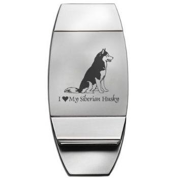Stainless Steel Money Clip  - I Love My Siberian Huskie