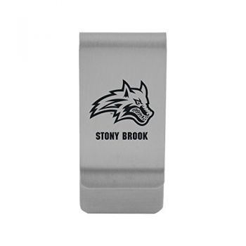 Stony Brook University|Money Clip with Contemporary Metals Finish|Solid Brass|High Tension Clip to Securely Hold Cash, Cards and ID's|Gold