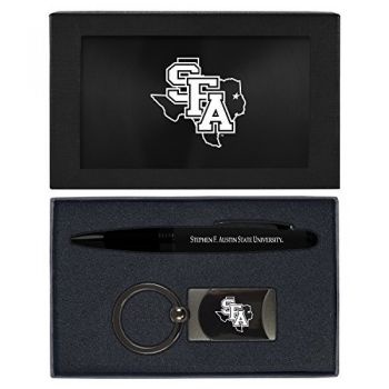 Stephen F. Austin State University-Executive Twist Action Ballpoint Pen Stylus and Gunmetal Key Tag Gift Set-Black