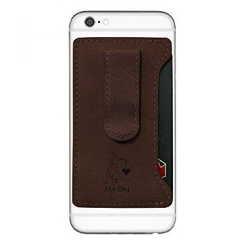 Leatherette Cell Phone Card Holder-I love my Dog-Brown