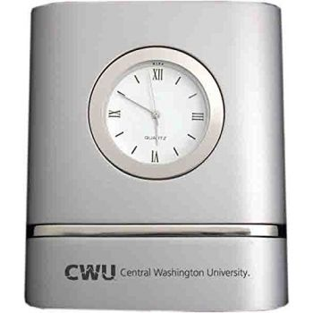 Central Washington University- Two-Toned Desk Clock -Silver