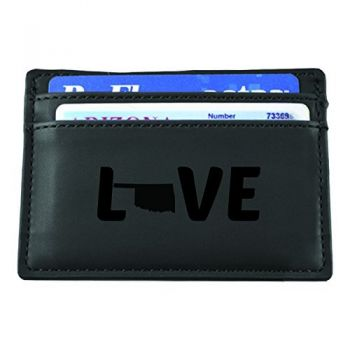Oklahoma-State Outline-Love-European Money Clip Wallet-Black