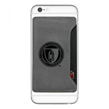 Central Connecticut University-Cell Phone Card Holder-Grey