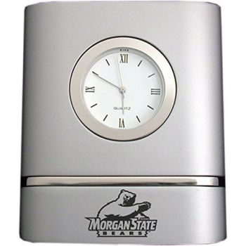 Morgan State University- Two-Toned Desk Clock -Silver