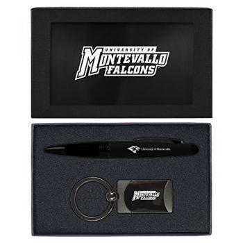 University of Montevallo-Executive Twist Action Ballpoint Pen Stylus and Gunmetal Key Tag Gift Set-Black