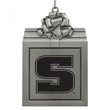 Slippery Rock University -Pewter Christmas Holiday Present Ornament-Silver