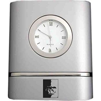 Pittsburg State University- Two-Toned Desk Clock -Silver