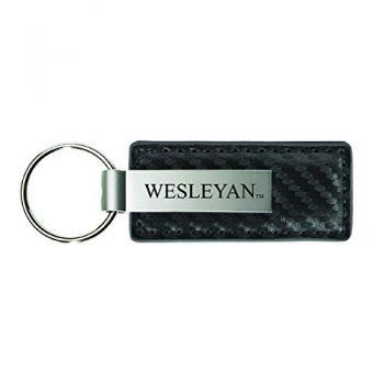 Wesleyan University-Carbon Fiber Leather and Metal Key Tag-Grey