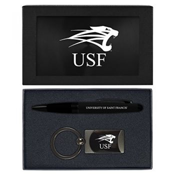 University of Saint Francis-Fort Wayne -Executive Twist Action Ballpoint Pen Stylus and Gunmetal Key Tag Gift Set-Black