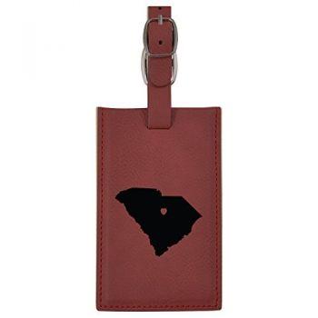 South Carolina-State Outline-Heart-Leatherette Luggage Tag -Burgundy