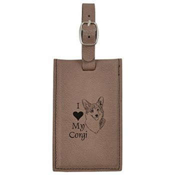 Travel Baggage Tag with Privacy Cover  - I Love My Corgi