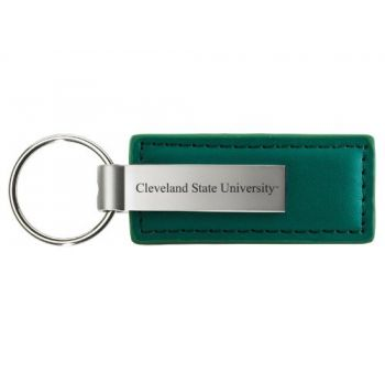 Cleveland State University - Leather and Metal Keychain - Green