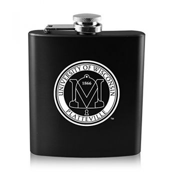 University of Wisconsin-Platteville-6 oz. Color Stainless Steel Flask-Black
