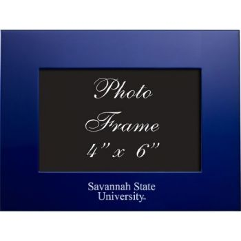 Savannah State University - 4x6 Brushed Metal Picture Frame - Blue