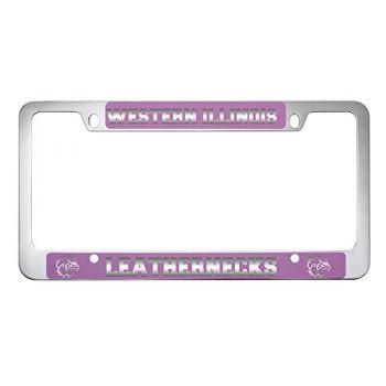 Western Illinois University -Metal License Plate Frame-Pink