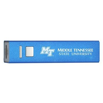 Middle Tennessee State University - Portable Cell Phone 2600 mAh Power Bank Charger - Blue