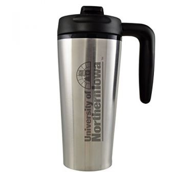University of Northern Iowa-16 oz. Travel Mug Tumbler with Handle-Silver