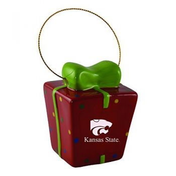 Kansas State University-3D Ceramic Gift Box Ornament