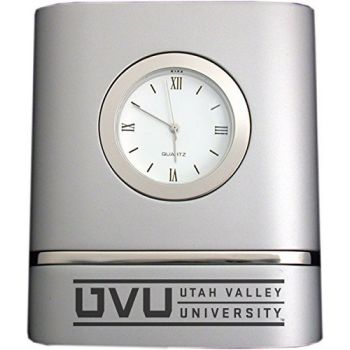 Utah Valley University- Two-Toned Desk Clock -Silver
