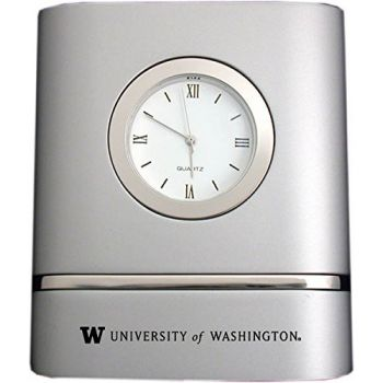 University of Washington- Two-Toned Desk Clock -Silver