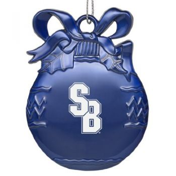 Stony Brook University - Pewter Christmas Tree Ornament - Blue